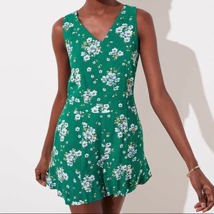 Loft Floral V-Neck Romper in Bright Kelly Green